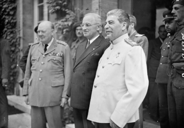 Winston Churchill, Harry Truman and Joseph Stalin at Potsdam on 17 Jul 1945