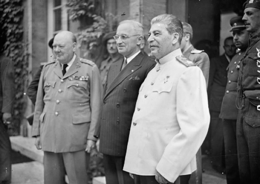 Winston Churchill, Harry Truman and Joseph Stalin at Potsdam on 17 Jul 1945