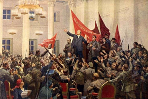 Lenin declares victory for the Revolution in 1917, by Sokolov-Skalia