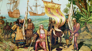 Christopher Columbus (kneeling) arrives in the New World on 12 Oct 1492