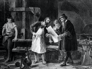 Johannes Gutenberg admiring his first paper print in 1440
