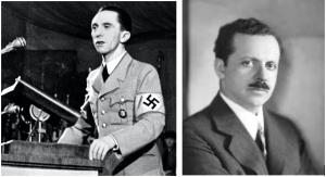 Joseph Goebbels (L) admired and capitalised the work of Edward Bernays (R)