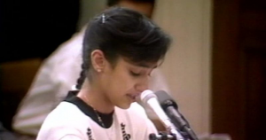 Nurse Nayirah testifying about the atrocities committed by Iraqi soldiers